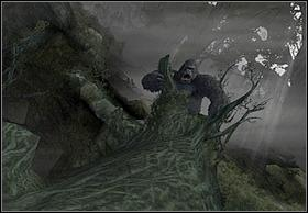 Youre starting the stage standing on the large, knocked over branch and Kong is situated at its end - The Log - Walkthrough - Peter Jacksons King Kong - Game Guide and Walkthrough