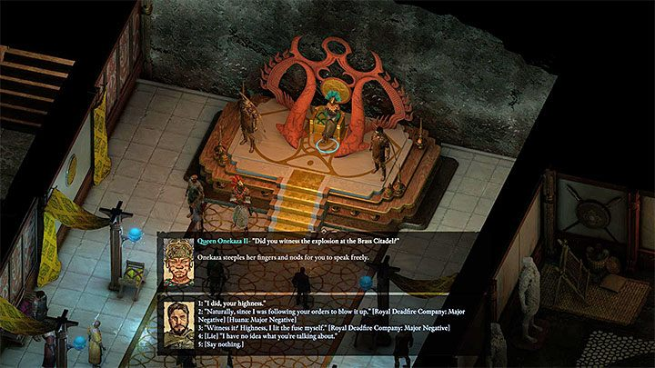 If the visit in the palace ended in accordance to the Vailian Trade Companys plan, you can get back to Director Castol / Lueva Alvari to get your reward - Variant 5 - Cooperation with Huana faction | Solution - The Coming Storm - journey to the final location - Pillars Of Eternity 2 Deadfire Game Guide