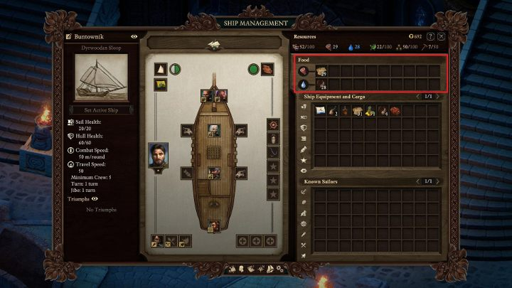 Food and drinks for the crew must be placed in the marked area. - Managing your ship and crew in Pillars of Eternity 2 - Traveling by ship - Pillars Of Eternity 2 Deadfire Game Guide