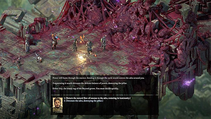 Regardless of how the meeting with souls went, you will be faced with the choice of a distorted adra column and this moment is shown in the attached picture - The Storms of Poko Kohara side quest | Walkthrough - Side quests - Pillars Of Eternity 2 Deadfire Game Guide