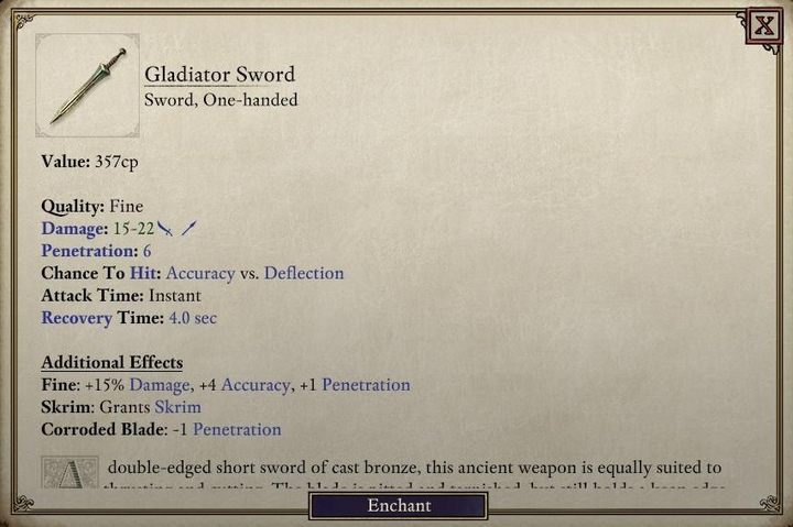 The Gladiator Sword is an excellent choice for a low level character specializing in melee combat. - Where to get weapons and armor the easy way in Pillars of Eternity 2? - FAQ - Pillars Of Eternity 2 Deadfire Game Guide