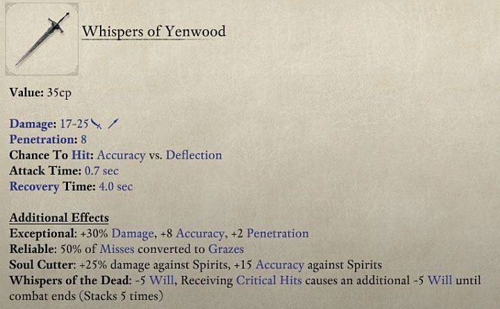 The above picture presents repaired Whispers of Yenwood - Where to get weapons and armor the easy way in Pillars of Eternity 2? - FAQ - Pillars Of Eternity 2 Deadfire Game Guide