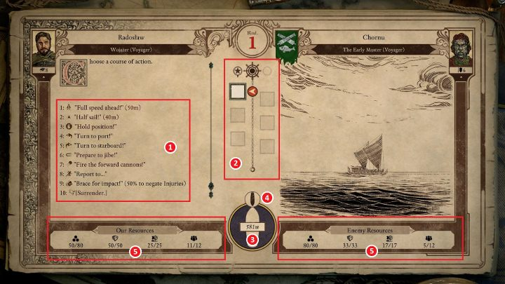 Things are different if you dont decide to board an enemy ship - in this case you will see the screen above - Ship combat in Pillars of Eternity 2 - Traveling by ship - Pillars Of Eternity 2 Deadfire Game Guide
