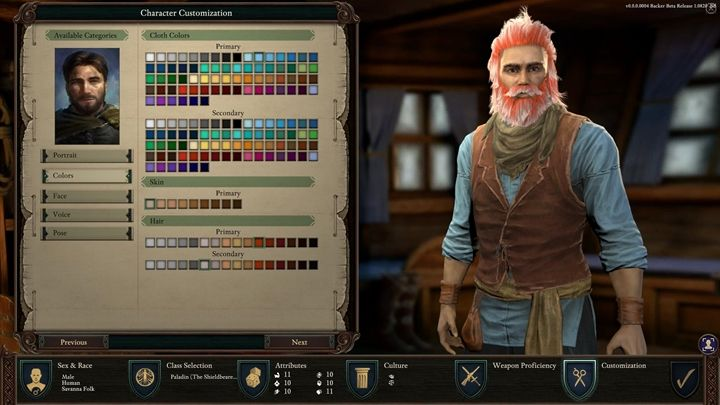 Finalizing the character creation - Pillars Of Eternity 2