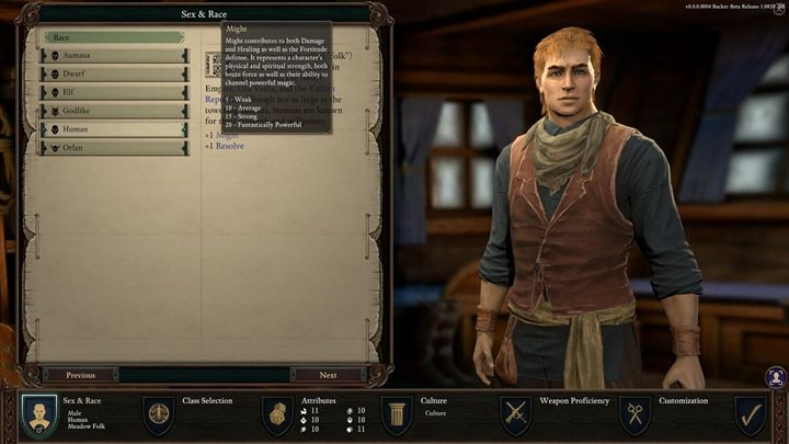 In the game, there are six races available - Selecting sex and race, creating character in Pillars of Eternity 2 - Character progression - Pillars Of Eternity 2 Deadfire Game Guide