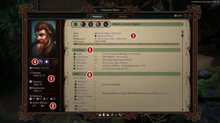 Character sheet - overview - Pillars Of Eternity 2 Deadfire Game