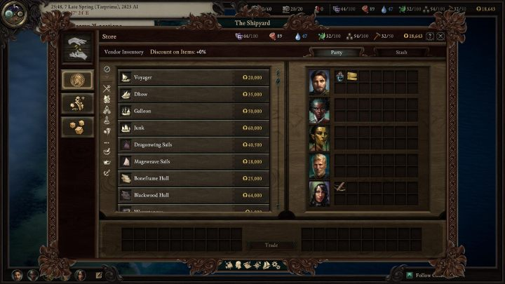 At the port you can also purchase ship upgrades like new hull, sails or cannons. - All ships in Pillars of Eternity 2 - Lists and summaries - Pillars Of Eternity 2 Deadfire Game Guide