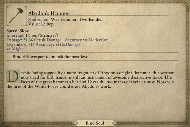 Abydons Hammer is one of the best weapons available in the game. - Lair of the Eyeless - main quest - The Abbey of the Fallen Moon - Pillars of Eternity Game Guide & Walkthrough
