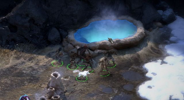 After defeating all enemies search through all three hot springs. - The Thermal Pearl - side quest - Stalwart Village - Pillars of Eternity Game Guide & Walkthrough