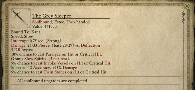 The Grey Sleeper is one of the best two-handed swords in the game. - The Grey Sleeper - side quest - Longwatch Falls - Pillars of Eternity Game Guide & Walkthrough