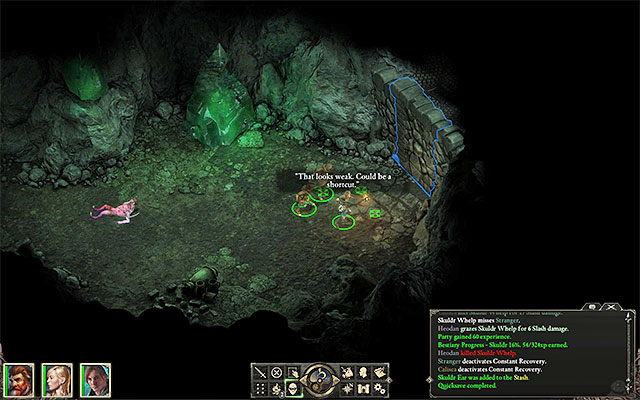 The location, where you find the weakened wall - The Ruins of Cilant Lis - Main quest - Cilant Lis - Pillars of Eternity Game Guide & Walkthrough