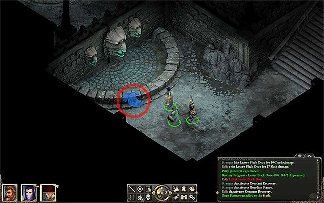 The spot where you find the silver key - Side quests in Gilded Vale - Gilded Vale - Pillars of Eternity Game Guide & Walkthrough