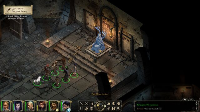 By talking to the Steward you will learn what the citizens of Stalwart village are up to. - Durgans Battery - main quest - Starting The Adventure - Pillars of Eternity Game Guide & Walkthrough