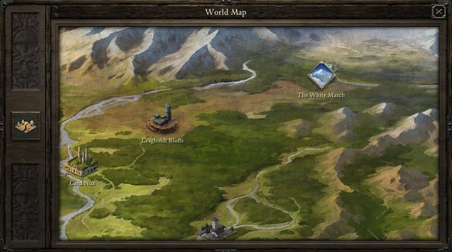 The White March expansion adds one more location, to the North-East of the Caed Nua stronghold - Cr�gholdt Bluffs (M12) - Game world | The White March Part I - New Content in Pillars of Eternity: The White March Part I - Pillars of Eternity Game Guide & Walkthrough