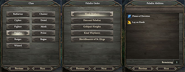 Some classes require you to pick an Order to which you belong as well - Character creation | Basics - Basics - Pillars of Eternity Game Guide & Walkthrough