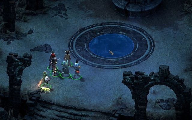 As soon as you gain favor with one of the deities, jump into the pit. - Court of the Penitents - main quest - Twin Elms - Pillars of Eternity Game Guide & Walkthrough