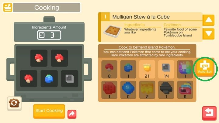 Recipes in pokemon quest pokemon creation pokemon quest game if you do not want to choose the ingredients yourself just click on the auto solutioingenieria Choice Image