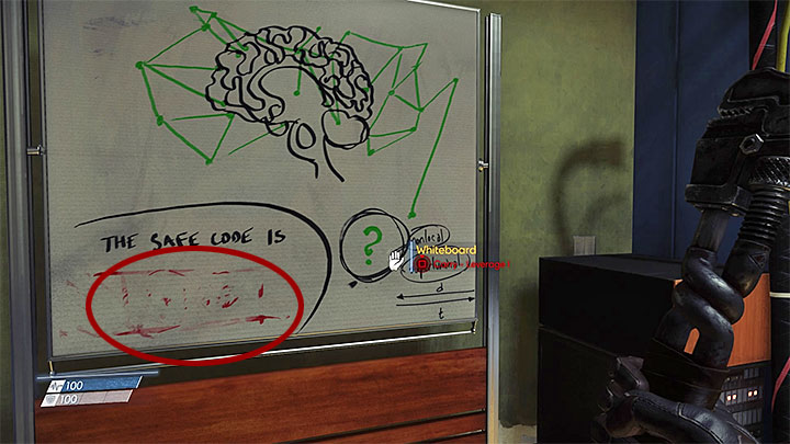 Once there, carefully examine the whiteboard shown in the picture - How to open the first safe in the laboratory? - FAQ � Frequently Asked Questions - Prey Game Guide