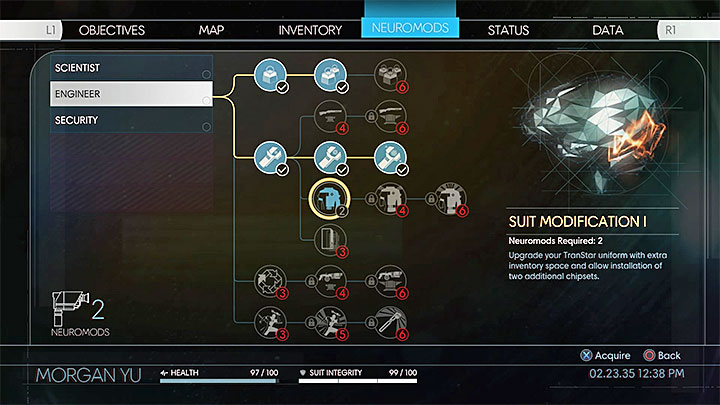 The most obvious solution to that problem is to expand your inventory gradually by using neuromods and upgrading Suit Modification human ability (presented in the picture above) - Will the dropped items disappear? | FAQ - FAQ � Frequently Asked Questions - Prey Game Guide