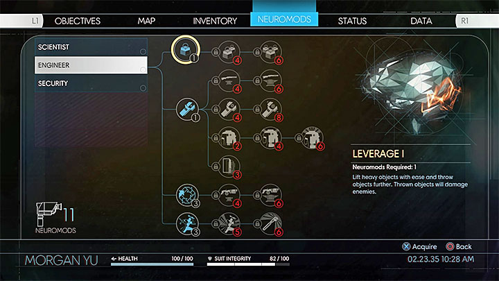 You need Leverage which is part of the Engineer tree of human abilities (the image above) - How to remove heavy obstacles in Prey? - FAQ � Frequently Asked Questions - Prey Game Guide