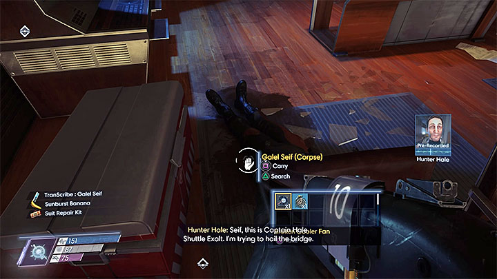 Look for a Transcribe found next to the body - Shuttle Bay | Side Quests - Side Quests - Prey Game Guide