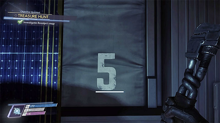 The first of four digits is found in the Cargo Bay - Treasure Hunt | Side Quests - Side Quests - Prey Game Guide