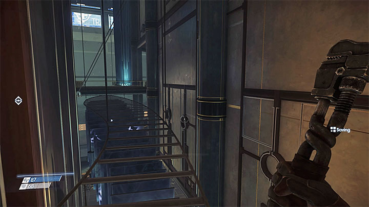 The alternate way requires you to use the object hung above the lobby - Through a Glass Darkly | Main Story - Main Story - Walkthrough - Prey Game Guide