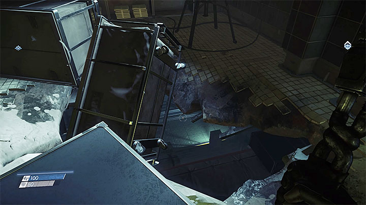 Enter the mens bathroom and use the large rupture in the floor to descend to the floor below - Typhoon Powers | Chartacter development - Character development - Prey Game Guide