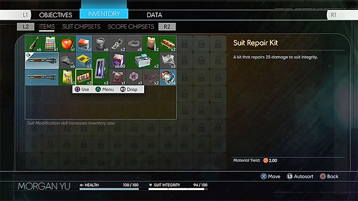 Use Suit Repair Kits only when youre absolutely sure that they wont go to waste. - Stamina, Health bar, and Armor - Combat - Prey Game Guide