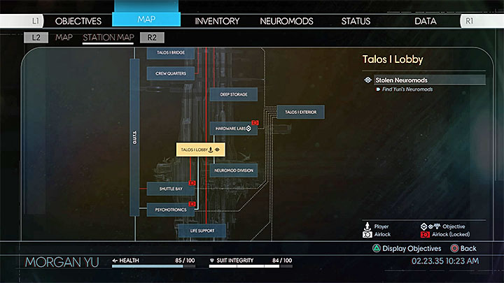 You can see the main area network at any moment. - Exploration - Gameplay basics - Prey Game Guide