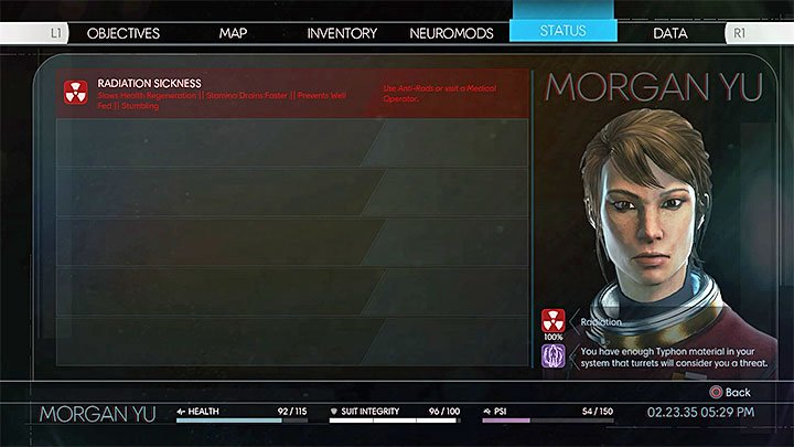 Information about the radiation sickness will appear in the Status menu - Exploration - Gameplay basics - Prey Game Guide