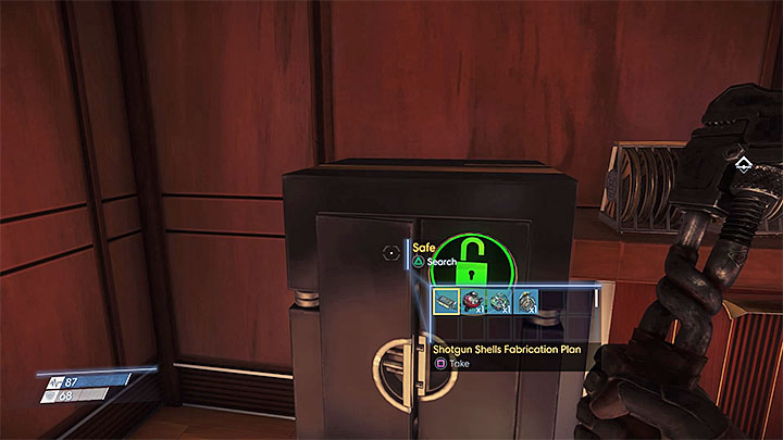 The plan is inside the safe shown in the picture which can be found in Security Station on level 1 of Talos I Lobby - Plans - Secrets and important items - Prey Game Guide