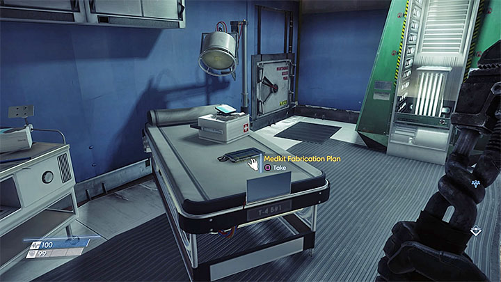 This plan is in Medical Bay located in one of the corners of the upper level of Hardware Labs atrium - Plans - Secrets and important items - Prey Game Guide