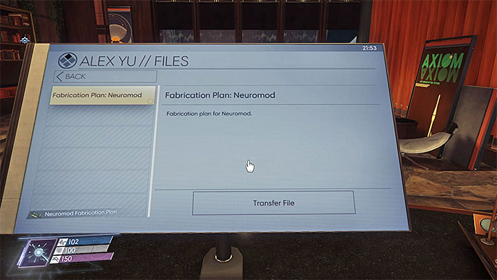 The fabrication plan can be obtained after hacking into the computer in Alex Yus Office - Plans - Secrets and important items - Prey Game Guide