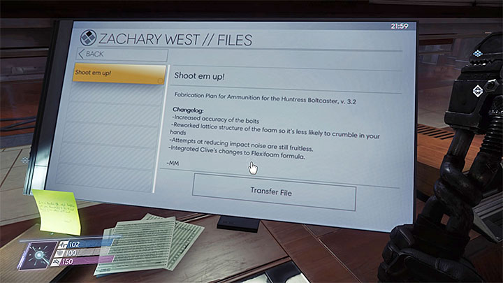 This fabrication plan can be downloaded from Zachary Wests computer - Plans - Secrets and important items - Prey Game Guide