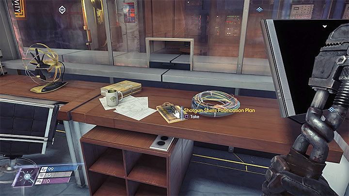 The fabrication plan is in the Security Station, presented in the picture, located next to the entrance to the Central Repository - Plans - Secrets and important items - Prey Game Guide