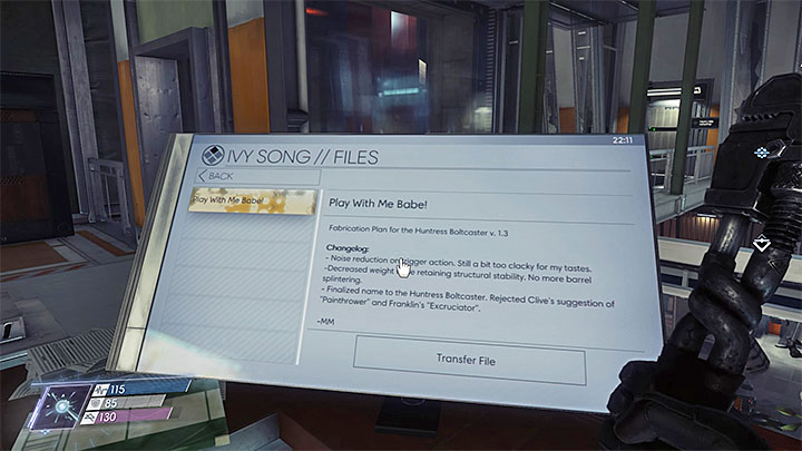 This fabrication plan can be downloaded from Ivy Songs computer located on level 2 of the Deep Storage - Plans - Secrets and important items - Prey Game Guide