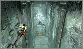 Return to the crank and turn it so that waterspouts begin falling down from the ceiling - Walkthrough - The Sewer - Walkthrough - Prince of Persia: The Forgotten Sands - Game Guide and Walkthrough