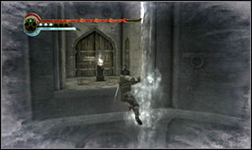 Jump onto the higher level, run up the door and jump onto the lever - Walkthrough - The Sewer - Walkthrough - Prince of Persia: The Forgotten Sands - Game Guide and Walkthrough