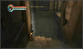 Finish the fight with Ratash; slide down the ramp while keeping to the left side and jump towards the side corridor - Walkthrough - Solomons Tomb - Walkthrough - Prince of Persia: The Forgotten Sands - Game Guide and Walkthrough