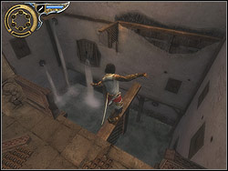 Jump down from the other side of the terrace to the backyard located below - The Streets of Babylon - Walkthrough - Prince of Persia: The Two Thrones - Game Guide and Walkthrough
