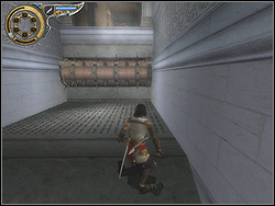 The next configuration of pitfalls is the lane of the floor with coming out splinters and revolving, arranged horizontally chunk with spikes - The Palace - Walkthrough - Prince of Persia: The Two Thrones - Game Guide and Walkthrough