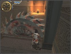You can see lighted up with clear glitter end of the corridor in front of you in the distance - The Palace - Walkthrough - Prince of Persia: The Two Thrones - Game Guide and Walkthrough