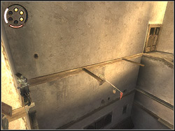 Go over the ledge to the wall on the left, then take off backwards to the direction of the horizontal bar with the red streamer - The Arena Tunnel - Walkthrough - Prince of Persia: The Two Thrones - Game Guide and Walkthrough
