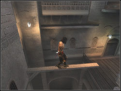 Go over the rail on the left side of the balcony, hung over the other side and jump to the catwalk straight ahead - The Bowery - Walkthrough - Prince of Persia: The Two Thrones - Game Guide and Walkthrough