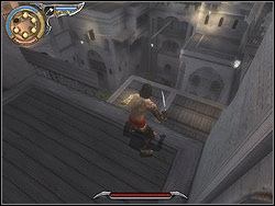 Go right from the fountain, jump down for the terrace below and down again to the other - The Brothel - Walkthrough - Prince of Persia: The Two Thrones - Game Guide and Walkthrough