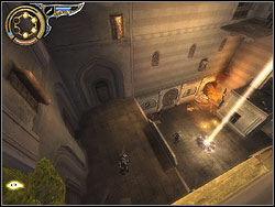 Run horizontally over the wall and catch the catwalk, clamber up it - The Upper City - Walkthrough - Prince of Persia: The Two Thrones - Game Guide and Walkthrough