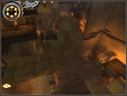 If you want to pass to the platform with the other mechanism, climb the ladder standing close by - The Royal Workshop - Walkthrough - Prince of Persia: The Two Thrones - Game Guide and Walkthrough