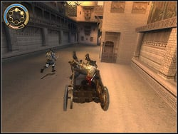 You are driving the chariot second time, with identical principles (only left/right) as in mission 12 - The King�s Road - Walkthrough - Prince of Persia: The Two Thrones - Game Guide and Walkthrough