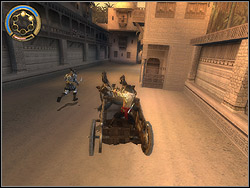 You are driving the chariot second time, with identical principles (only left/right) as in mission 12 - The King's Road - Walkthrough - Prince of Persia: The Two Thrones - Game Guide and Walkthrough
